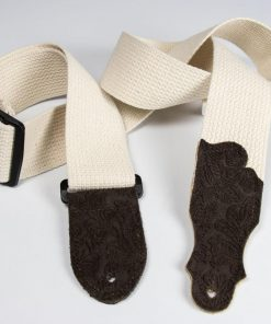 Cotton Guitar Strap - Embossed Suede End Tab